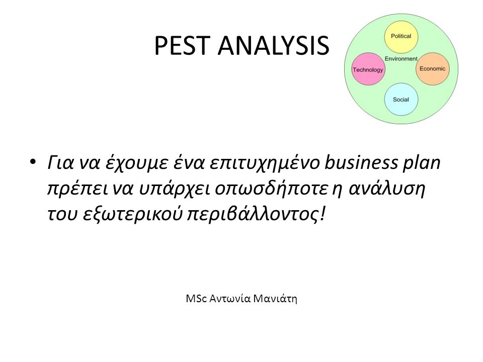 PEST ANALYSIS Για να έχουμε ένα επιτυχημένο business plan πρέπει να υπάρχει οπωσδήποτε η ανάλυση του εξωτερικού περιβάλλοντος!