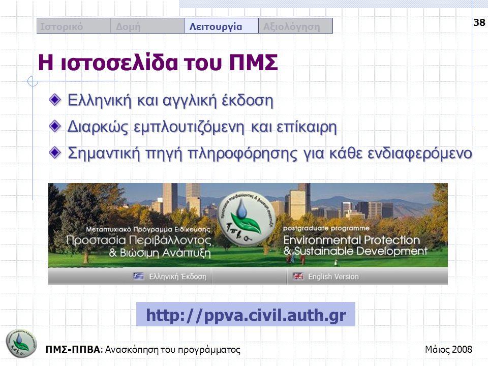 Η ιστοσελίδα του ΠΜΣ Ελληνική και αγγλική έκδοση