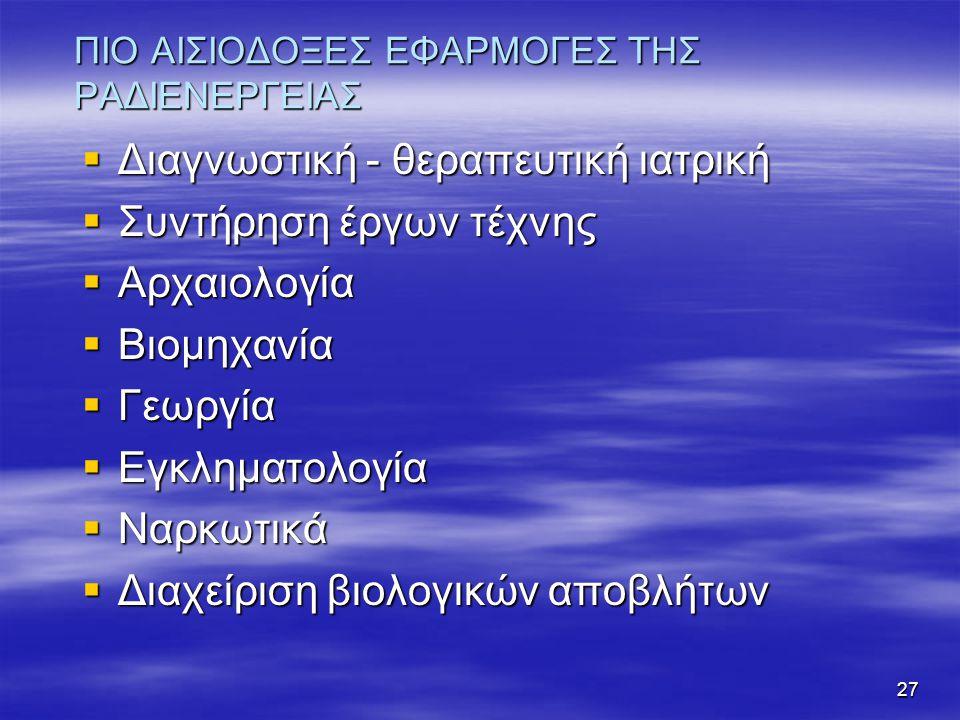 ΠΙΟ ΑΙΣΙΟΔΟΞΕΣ ΕΦΑΡΜΟΓΕΣ ΤΗΣ ΡΑΔΙΕΝΕΡΓΕΙΑΣ