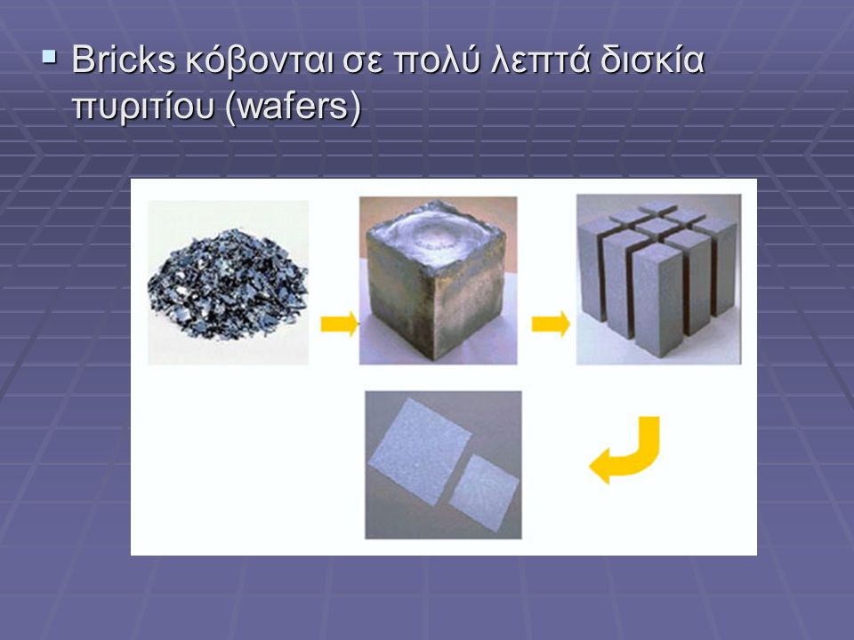 Bricks κόβονται σε πολύ λεπτά δισκία πυριτίου (wafers)