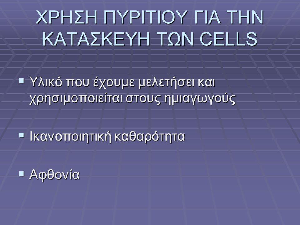 ΧΡΗΣΗ ΠΥΡΙΤΙΟΥ ΓΙΑ ΤΗΝ ΚΑΤΑΣΚΕΥΗ ΤΩΝ CELLS