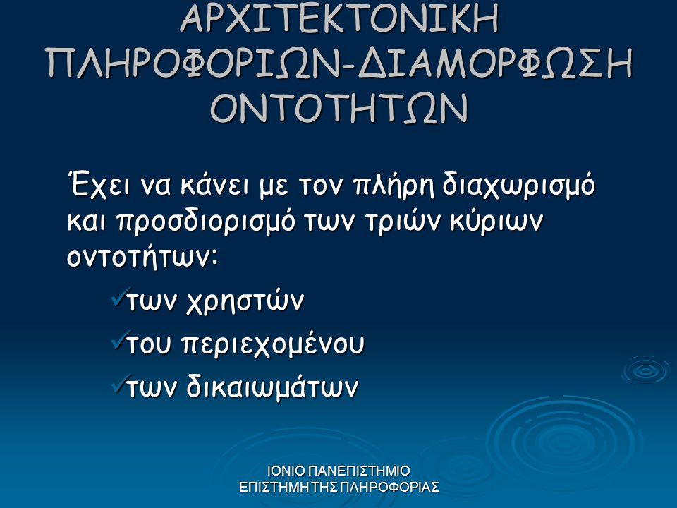 ΑΡΧΙΤΕΚΤΟΝΙΚΗ ΠΛΗΡΟΦΟΡΙΩΝ-ΔΙΑΜΟΡΦΩΣΗ ΟΝΤΟΤΗΤΩΝ