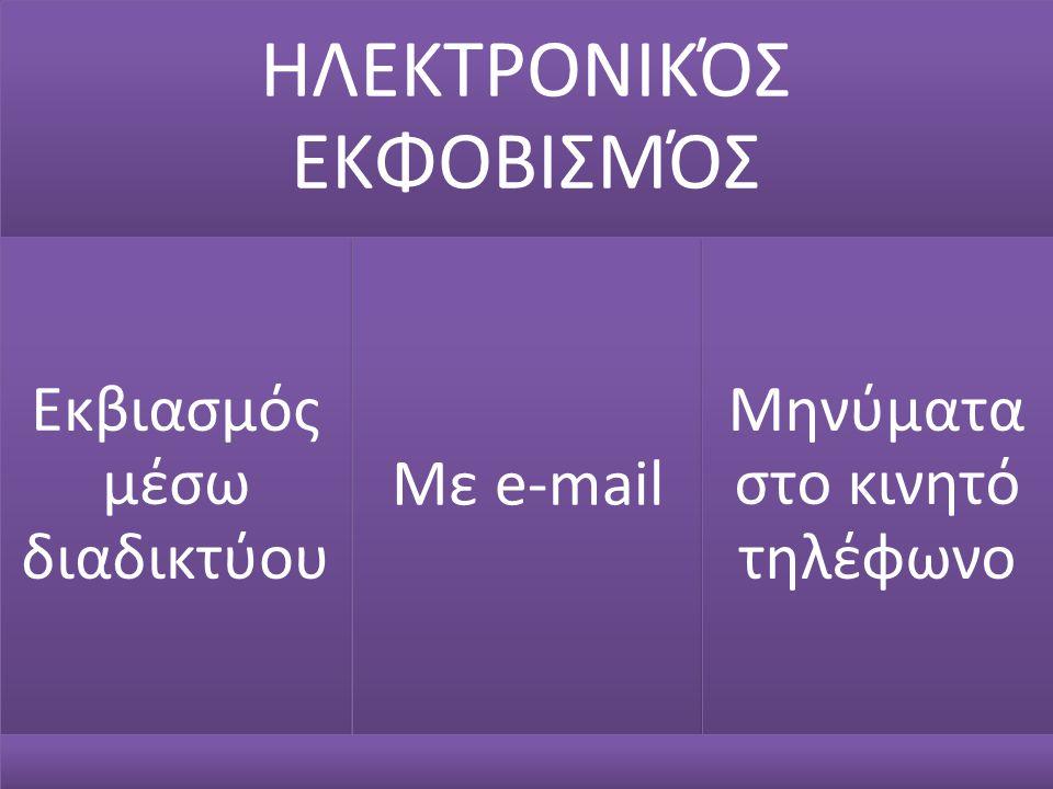 ΗΛΕΚΤΡΟΝΙΚΌΣ ΕΚΦΟΒΙΣΜΌΣ Εκβιασμός μέσω διαδικτύου Με e-mail
