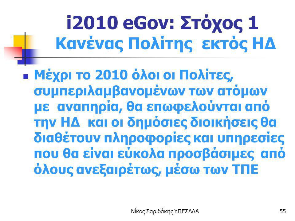 i2010 eGov: Στόχος 1 Κανένας Πολίτης εκτός ΗΔ