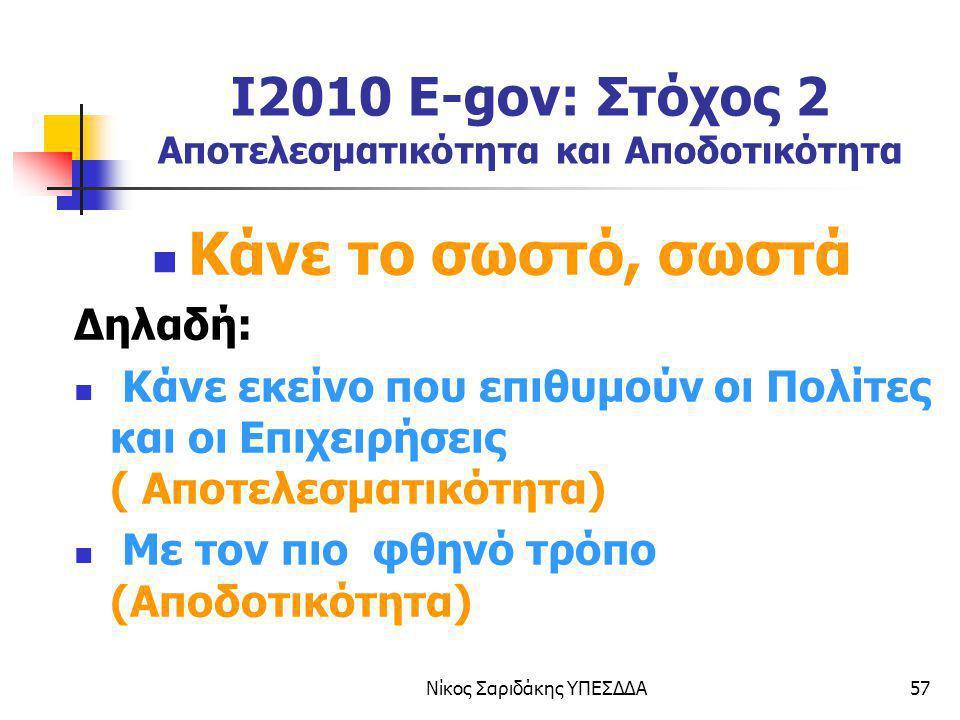 I2010 E-gov: Στόχος 2 Αποτελεσματικότητα και Αποδοτικότητα