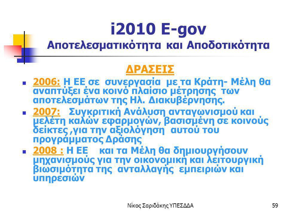 i2010 E-gov Αποτελεσματικότητα και Αποδοτικότητα