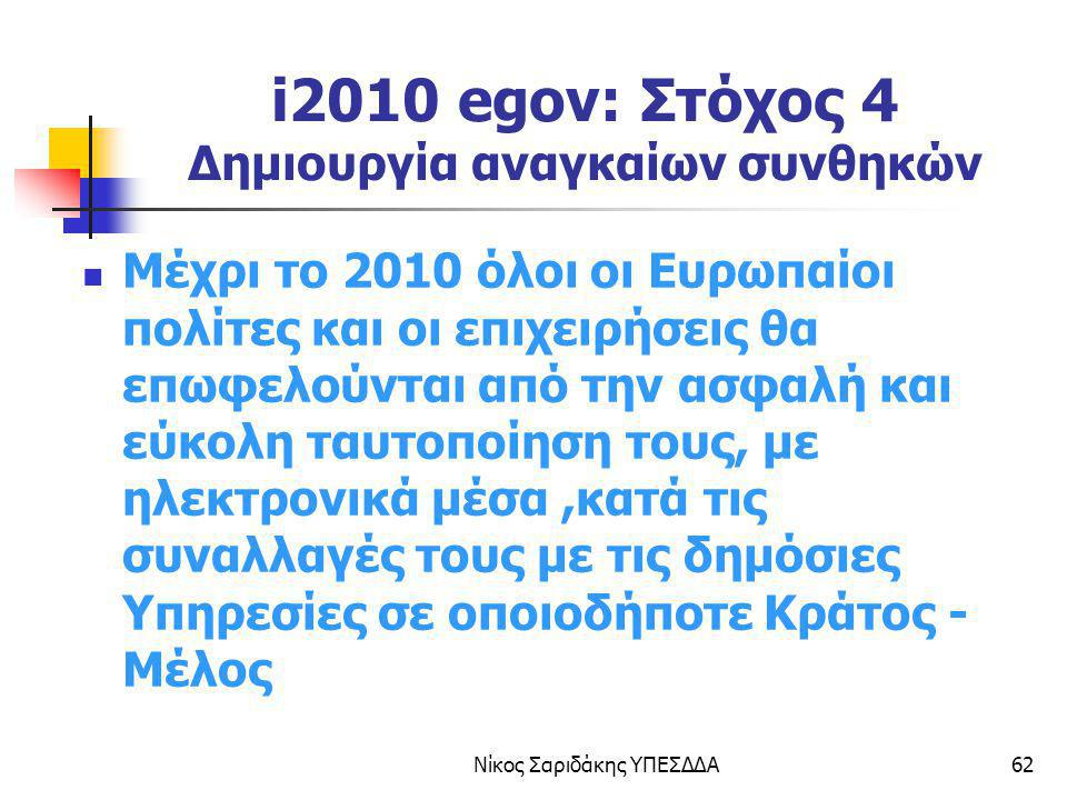 i2010 egov: Στόχος 4 Δημιουργία αναγκαίων συνθηκών
