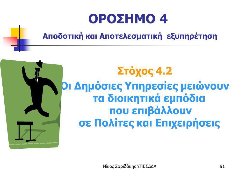 ΟΡΟΣΗΜΟ 4 Αποδοτική και Αποτελεσματική εξυπηρέτηση