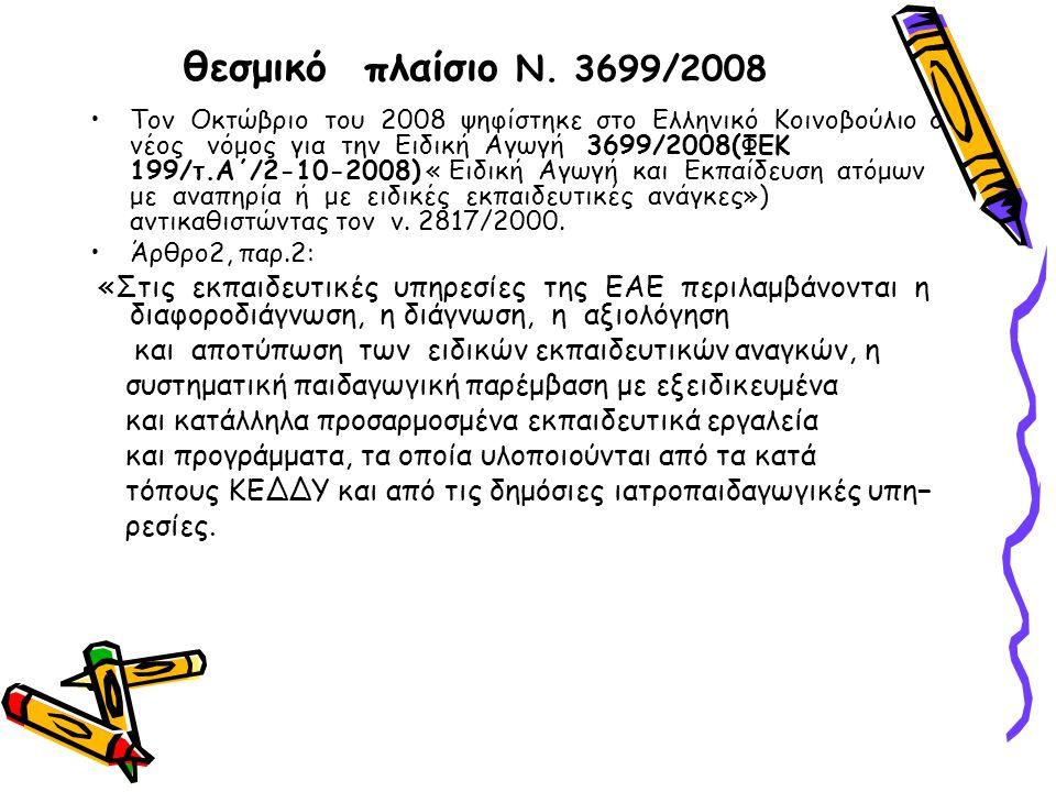 θεσμικό πλαίσιο N. 3699/2008