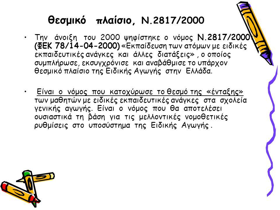 θεσμικό πλαίσιο, Ν.2817/2000