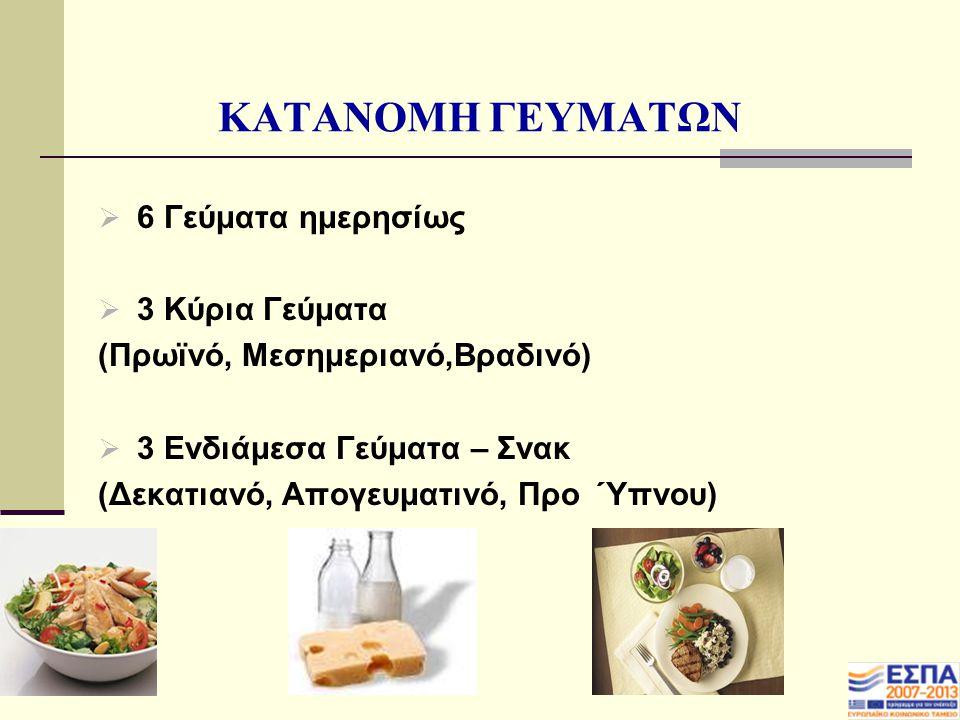 ΚΑΤΑΝΟΜΗ ΓΕΥΜΑΤΩΝ 6 Γεύματα ημερησίως 3 Κύρια Γεύματα