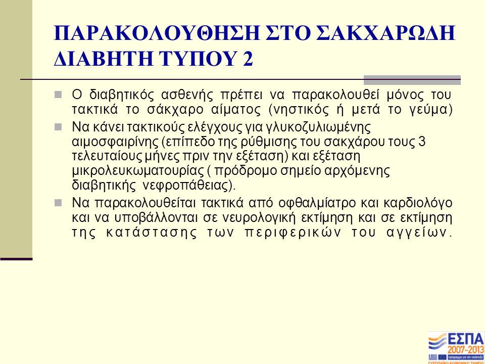 ΠΑΡΑΚΟΛΟΥΘΗΣΗ ΣΤΟ ΣΑΚΧΑΡΩΔΗ ΔΙΑΒΗΤΗ ΤΥΠΟΥ 2