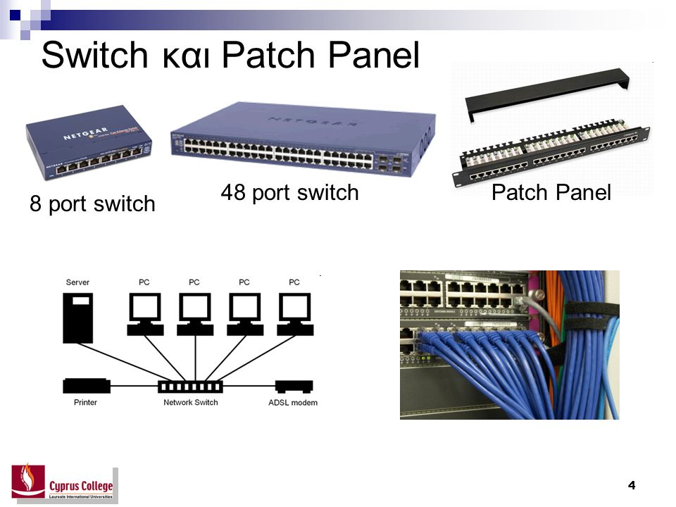 Switch και Patch Panel 48 port switch Patch Panel 8 port switch