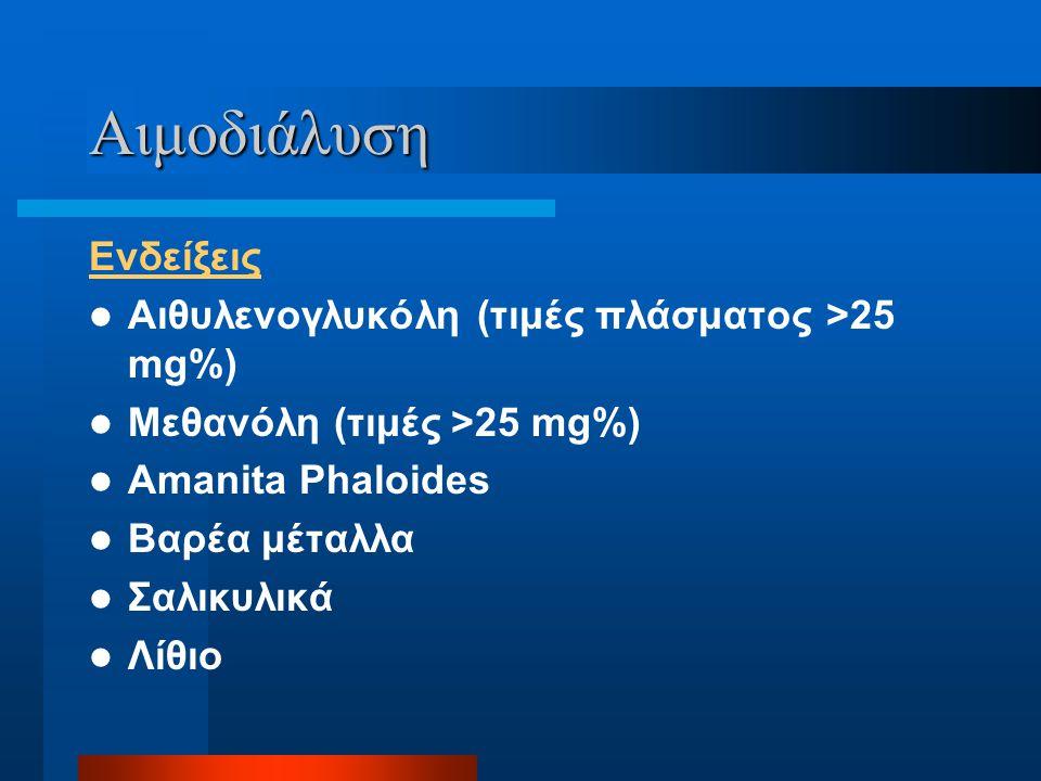 Αιμοδιάλυση Ενδείξεις Αιθυλενογλυκόλη (τιμές πλάσματος >25 mg%)