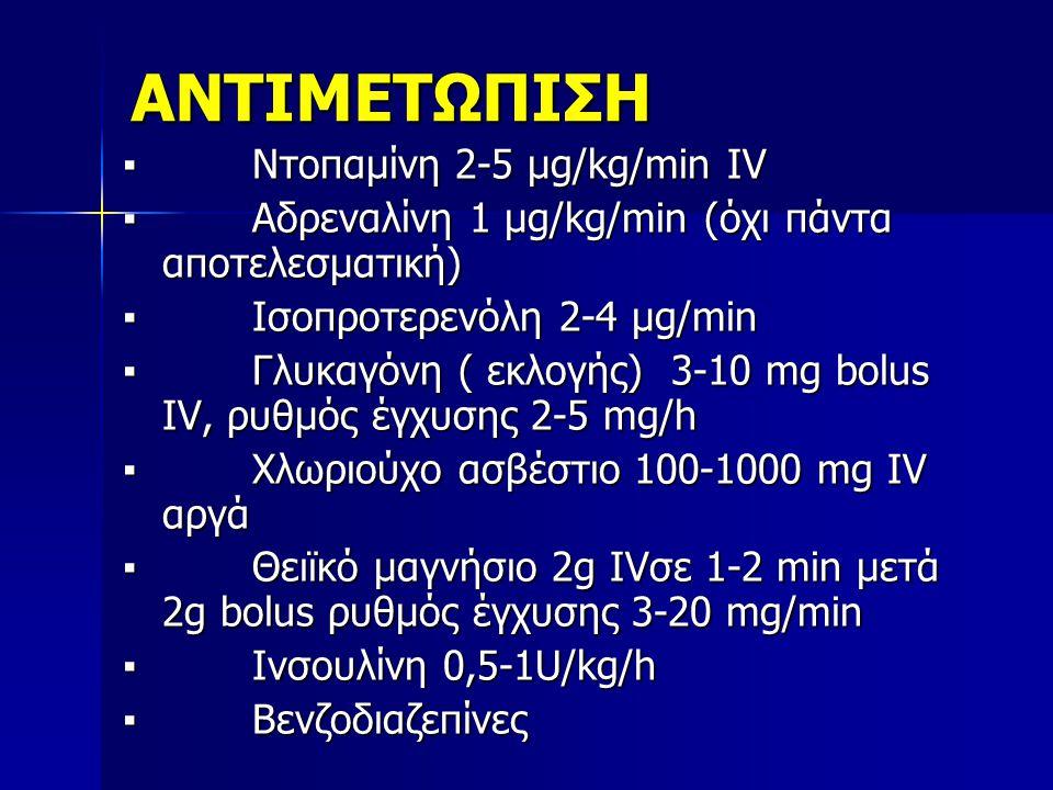 ΑΝΤΙΜΕΤΩΠΙΣΗ ▪ Ντοπαμίνη 2-5 μg/kg/min IV