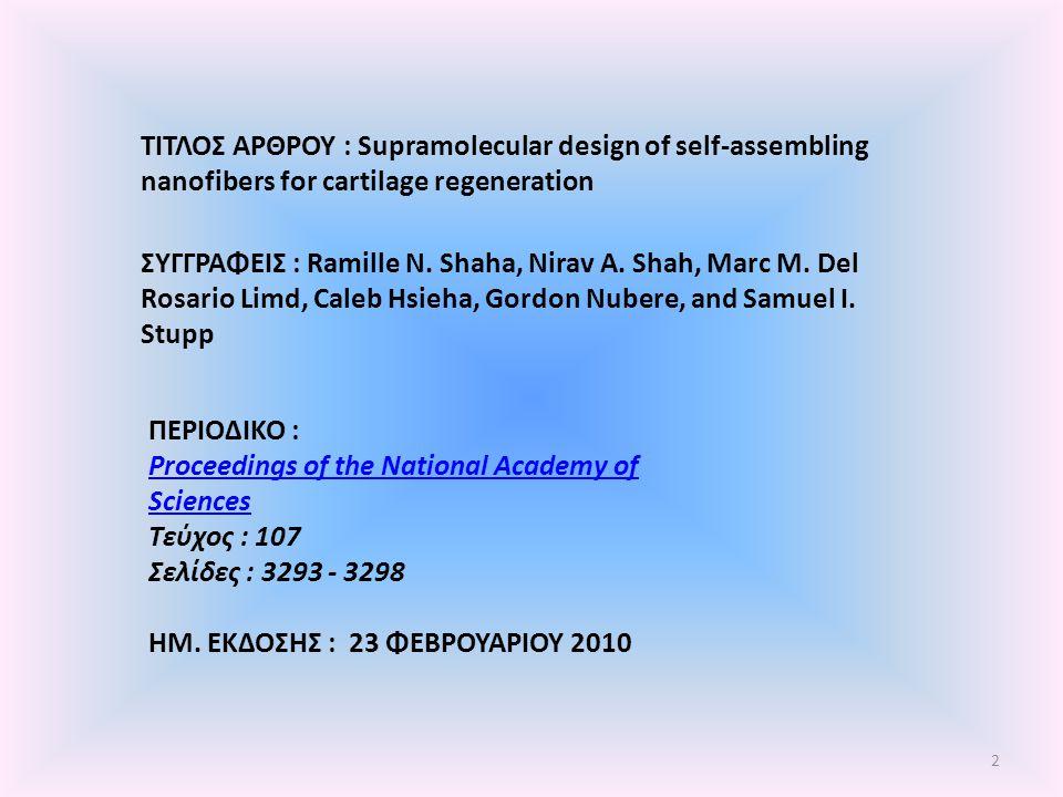 ΤΙΤΛΟΣ ΑΡΘΡΟΥ : Supramolecular design of self-assembling