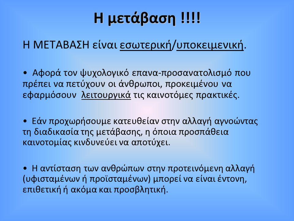 Η μετάβαση !!!! Η ΜΕΤΑΒΑΣΗ είναι εσωτερική/υποκειμενική.