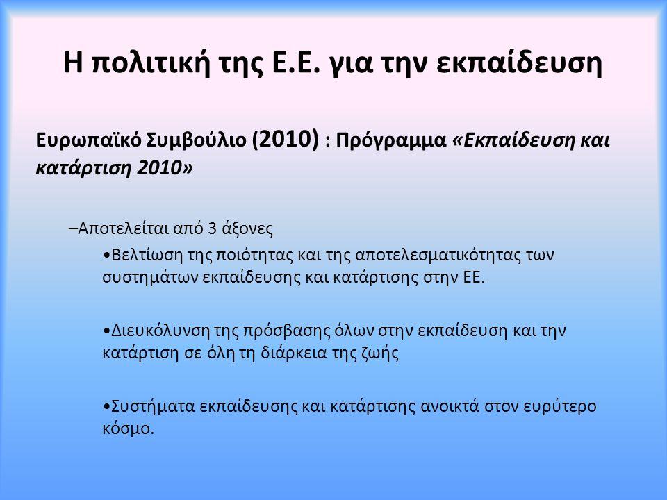 Η πολιτική της Ε.Ε. για την εκπαίδευση