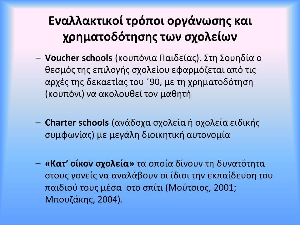 Εναλλακτικοί τρόποι οργάνωσης και χρηματοδότησης των σχολείων