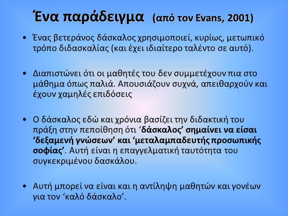 Ένα παράδειγμα (από τον Evans, 2001)