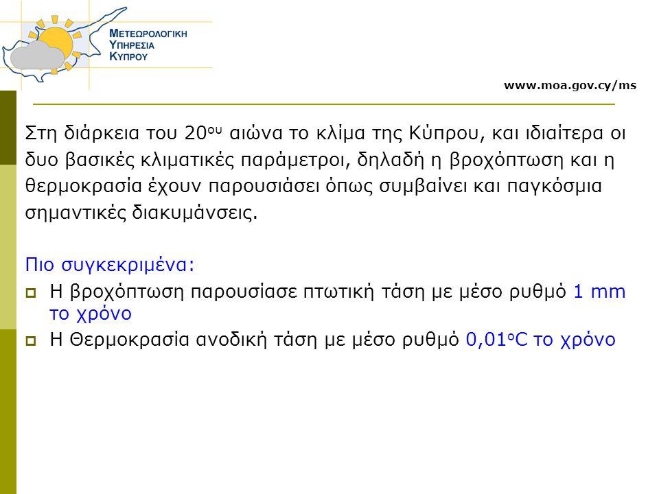 Στη διάρκεια του 20ου αιώνα το κλίμα της Κύπρου, και ιδιαίτερα οι