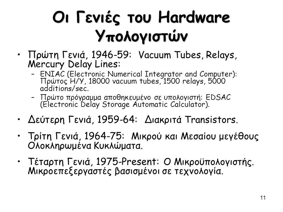 Οι Γενιές του Hardware Υπολογιστών