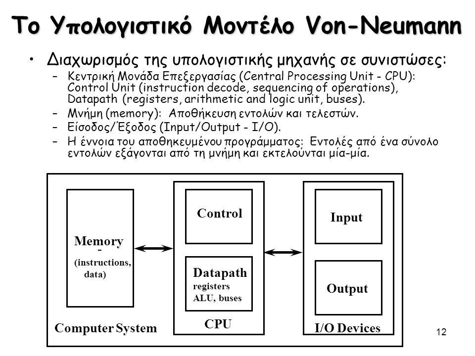 Το Υπολογιστικό Μοντέλο Von-Neumann