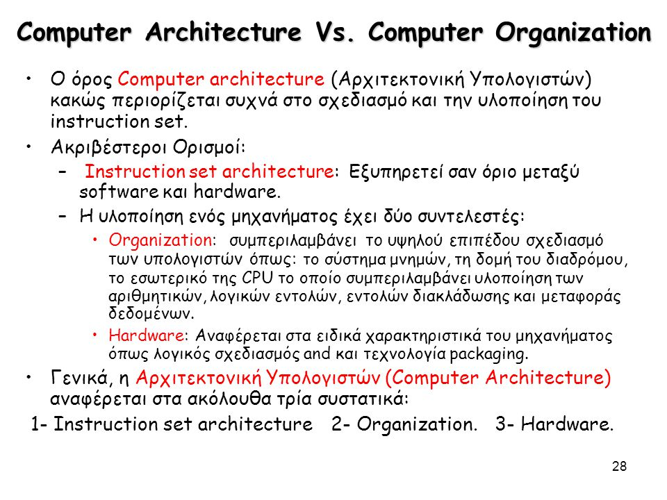 Computer Architecture Vs. Computer Organization
