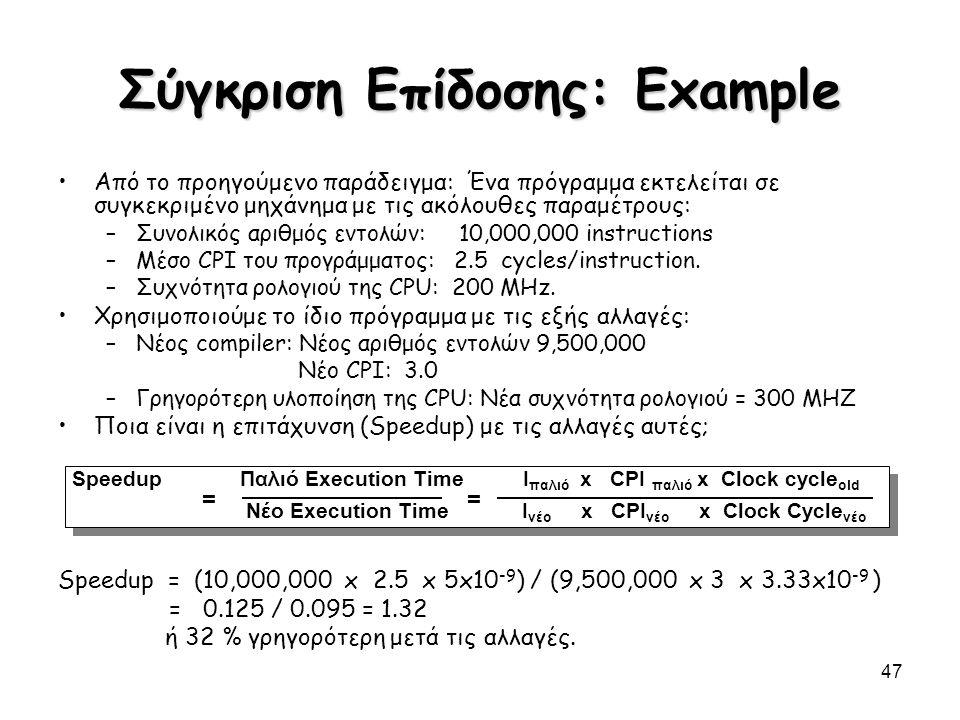 Σύγκριση Επίδοσης: Example
