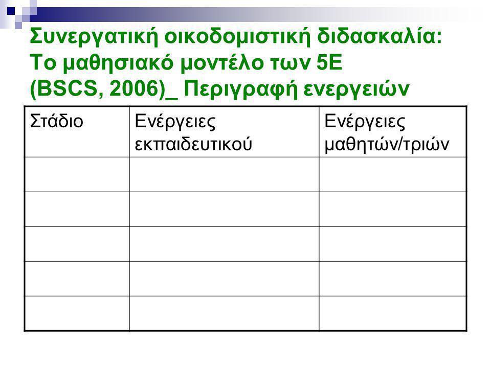 Συνεργατική οικοδομιστική διδασκαλία: Το μαθησιακό μοντέλο των 5E (BSCS, 2006)_ Περιγραφή ενεργειών