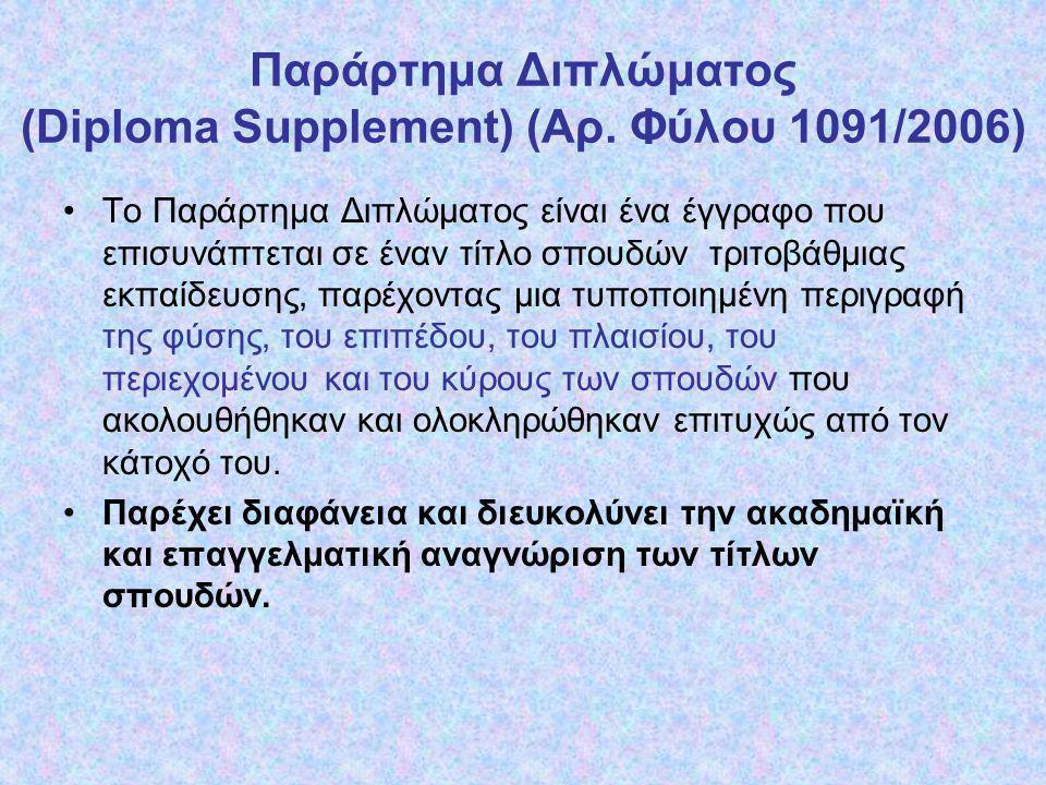 Παράρτημα Διπλώματος (Diploma Supplement) (Αρ. Φύλου 1091/2006)