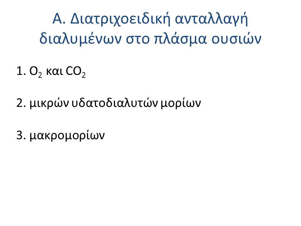 Α. Διατριχοειδική ανταλλαγή διαλυμένων στο πλάσμα ουσιών