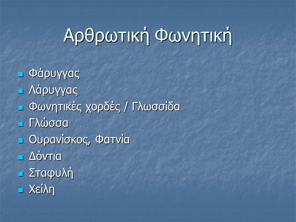 Αρθρωτική Φωνητική Φάρυγγας Λάρυγγας Φωνητικές χορδές / Γλωσσίδα