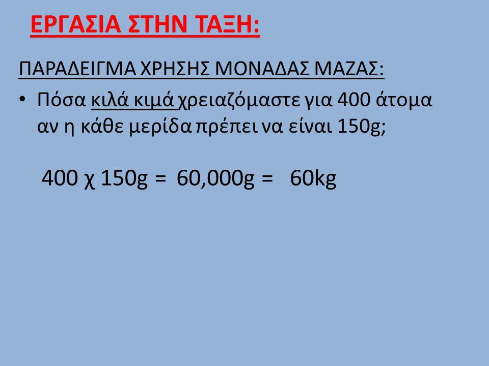 ΕΡΓΑΣΙΑ ΣΤΗΝ ΤΑΞΗ: 400 χ 150g = 60,000g = 60kg