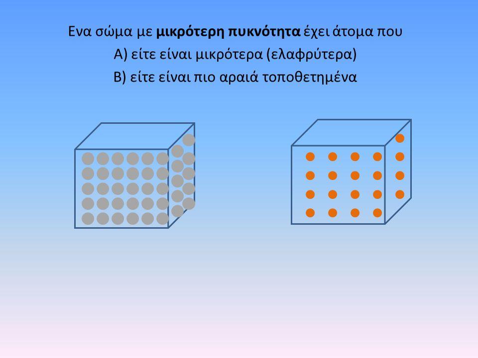 Ενα σώμα με μικρότερη πυκνότητα έχει άτομα που