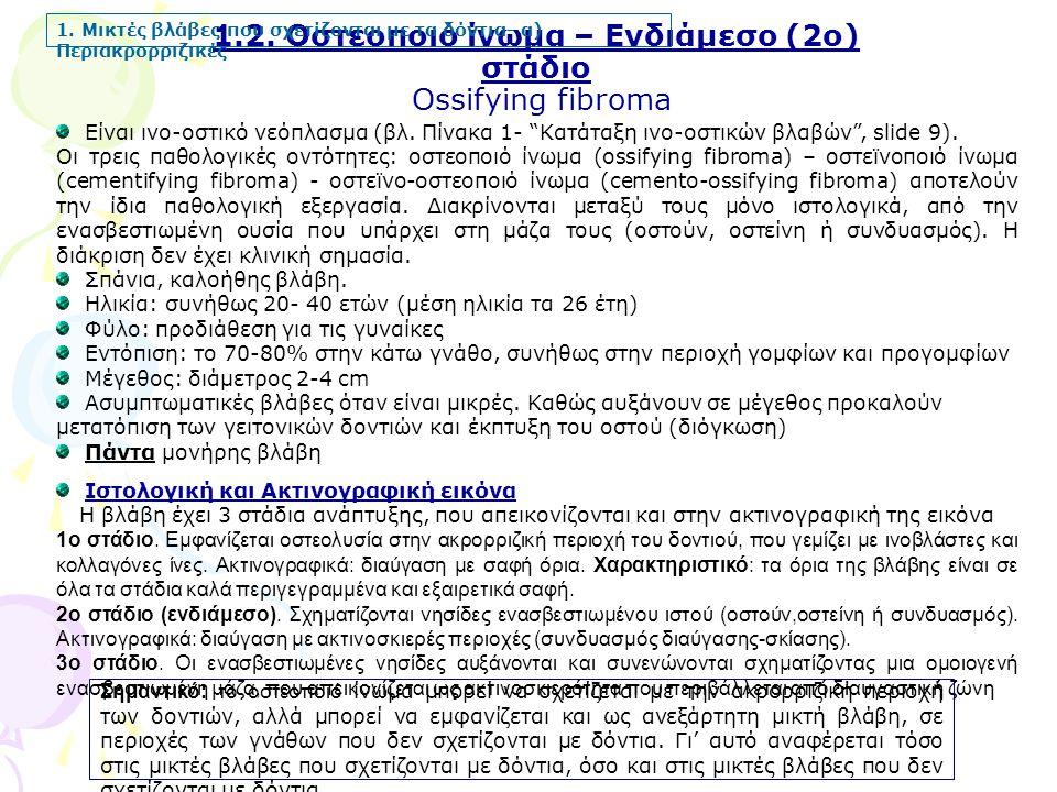 1.2. Οστεοποιό ίνωμα – Ενδιάμεσο (2ο) στάδιο Ossifying fibroma