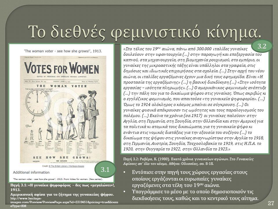 Το διεθνές φεμινιστικό κίνημα.