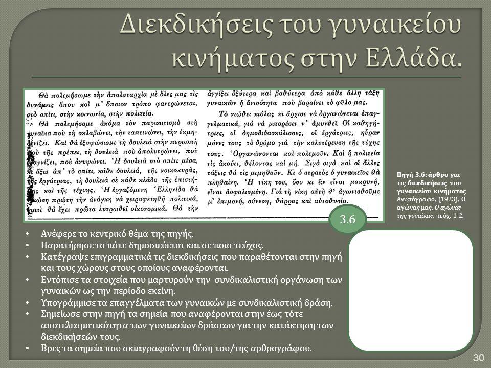 Διεκδικήσεις του γυναικείου κινήματος στην Ελλάδα.