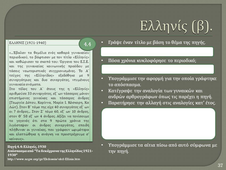 Ελληνίς (β). 4.4 Γράψε έναν τίτλο με βάση το θέμα της πηγής.