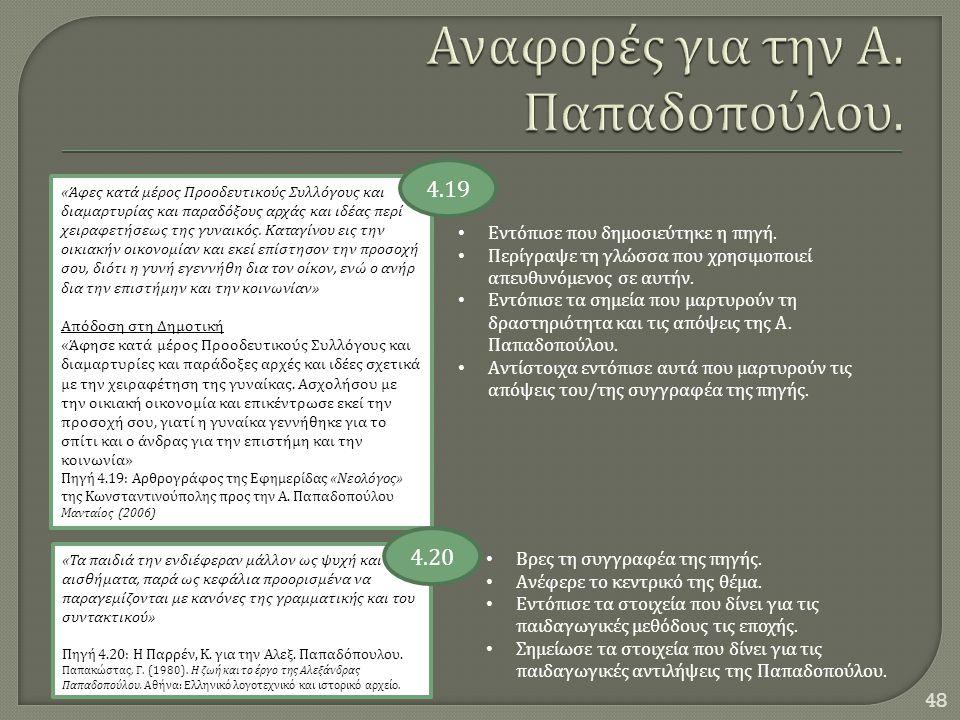 Αναφορές για την Α. Παπαδοπούλου.