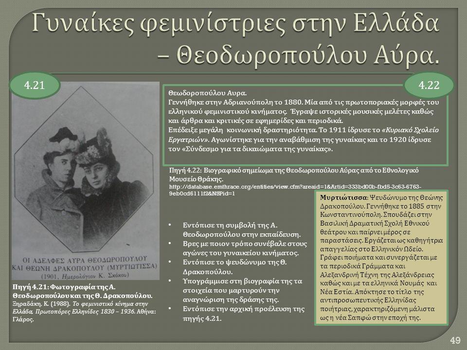 Γυναίκες φεμινίστριες στην Ελλάδα – Θεοδωροπούλου Αύρα.