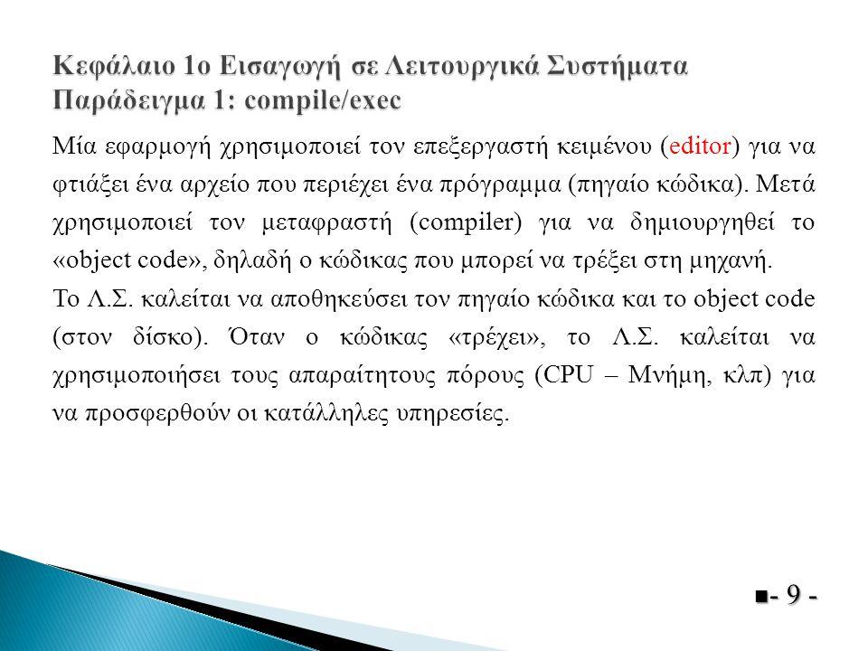 Κεφάλαιο 1ο Εισαγωγή σε Λειτουργικά Συστήματα Παράδειγμα 1: compile/exec