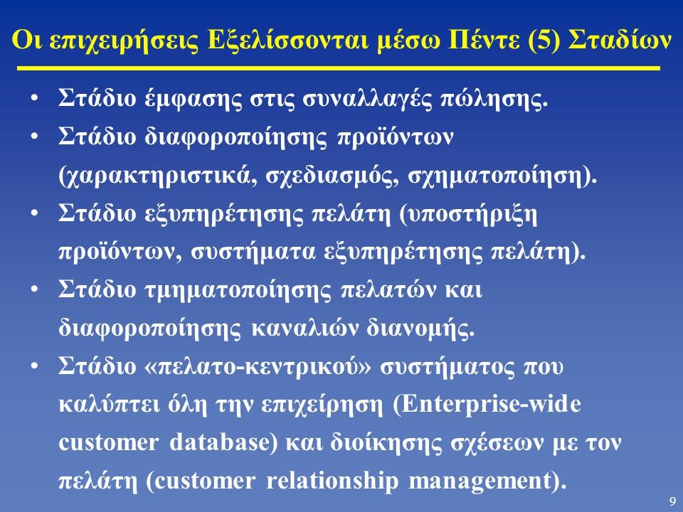 Οι επιχειρήσεις Εξελίσσονται μέσω Πέντε (5) Σταδίων