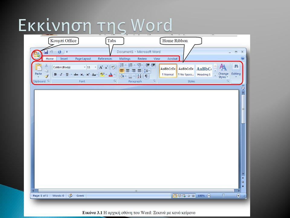 Εκκίνηση της Word To interface στην Office 2007 αλλάζει ΄με τη χρήση των Ribbons.