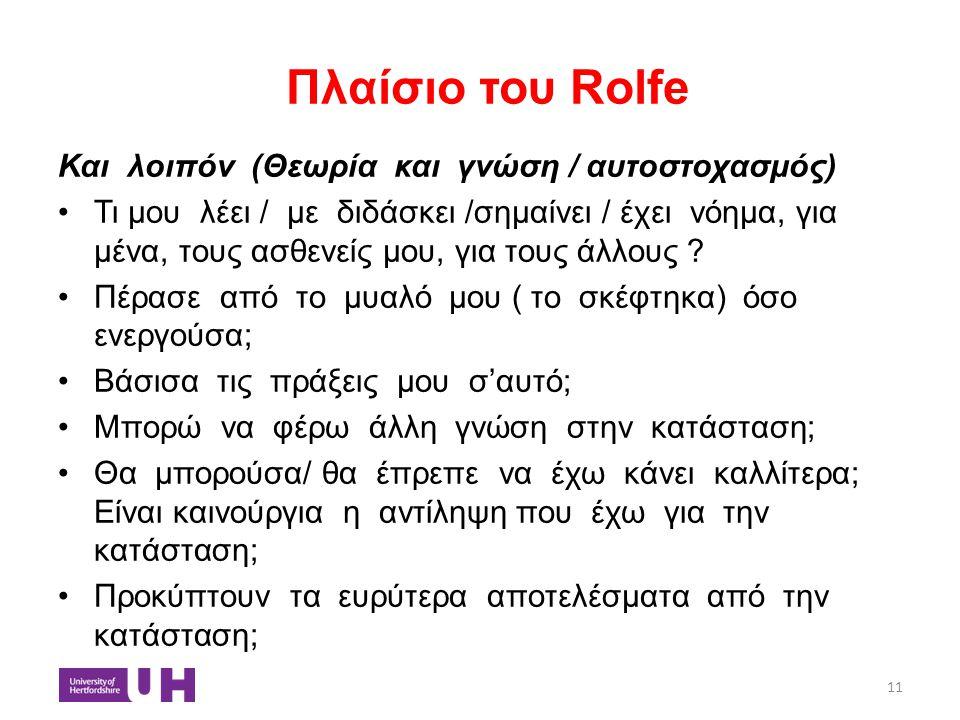 Πλαίσιο του Rolfe Και λοιπόν (Θεωρία και γνώση / αυτοστοχασμός)