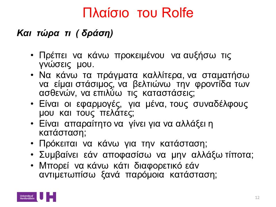 Πλαίσιο του Rolfe Και τώρα τι ( δράση)
