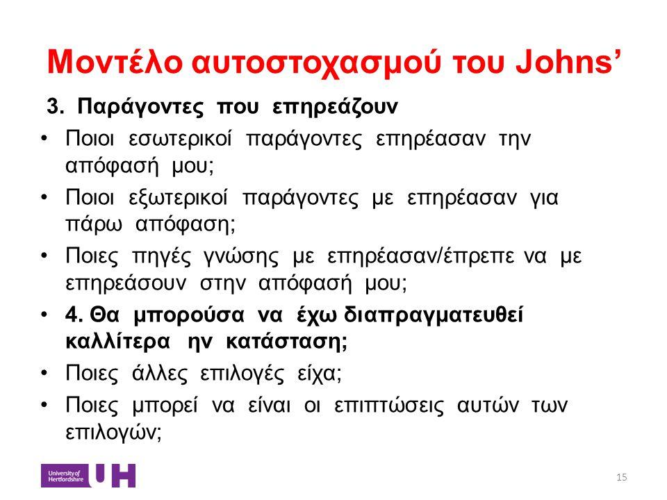 Μοντέλο αυτοστοχασμού του Johns'