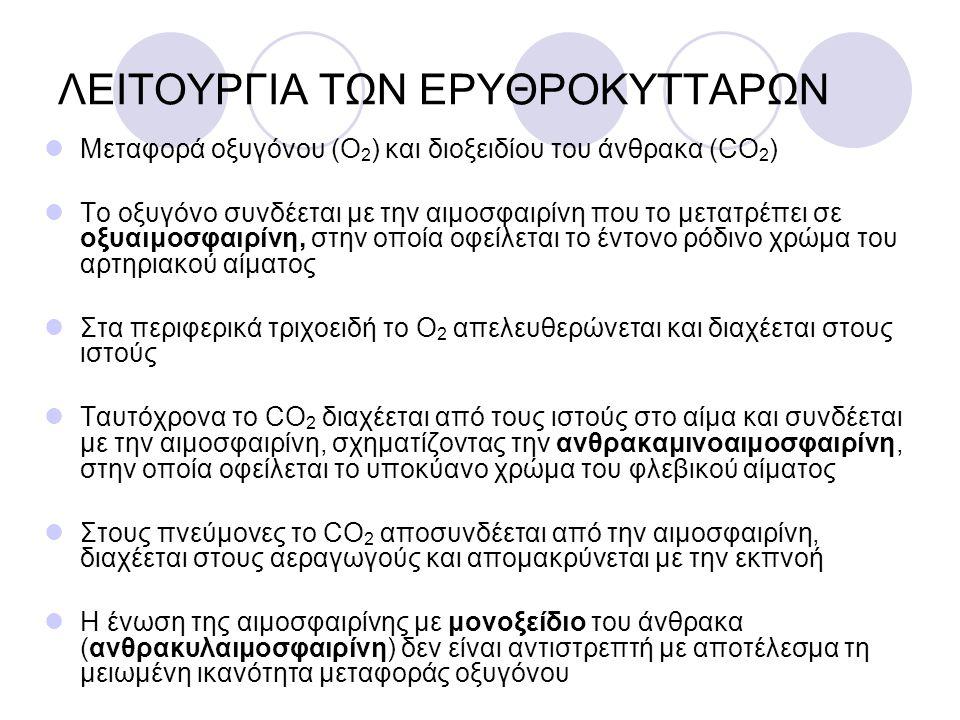 ΛΕΙΤΟΥΡΓΙΑ ΤΩΝ ΕΡΥΘΡΟΚΥΤΤΑΡΩΝ