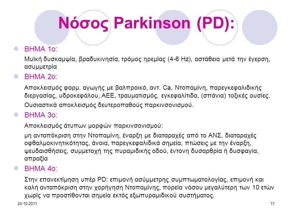Νόσος Parkinson (PD): ΒΗΜΑ 1ο: ΒΗΜΑ 2ο: