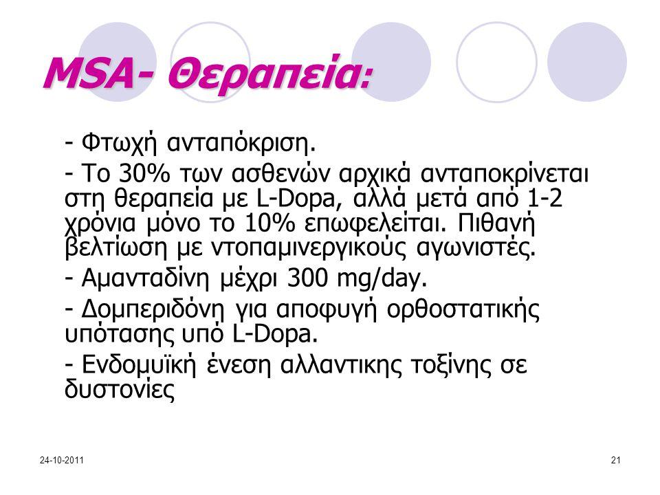 MSA- Θεραπεία: - Φτωχή ανταπόκριση.